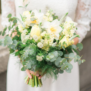 White + Green Bridal Bouquet