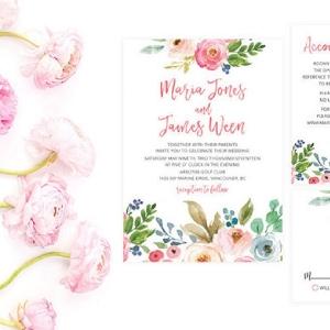 Floral Print Summer Wedding Invitation Suite