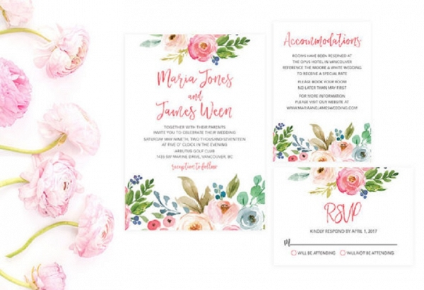 floral print summer wedding invitation suite - Summer Wedding Invitations