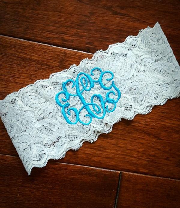Something Blue Lace Monogram Garter