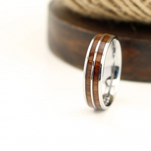 Men's Wood Inlay Wedding Ring with Tungsten Lining