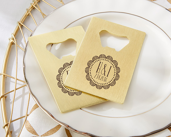 Gold Credit Card Bottle Opener Wedding Favors