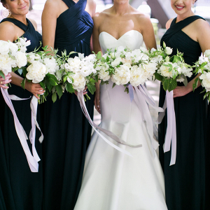 Black Bridesmaid Dresses + White Bouquets