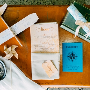 Vintage Aviation Styled Wedding Menu Card