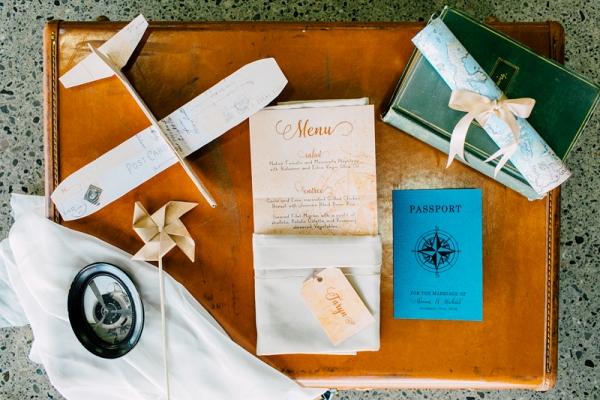 Vintage Aviation Styled Wedding Menu Card