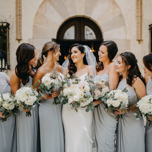 Grey-Blue Bridesmaid Dresses