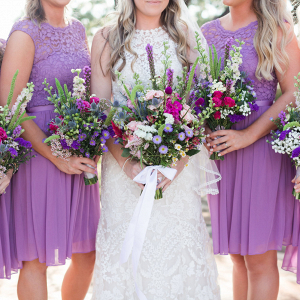 Purple Bridesmaid Dress and Wildflower Wedding Bouquets