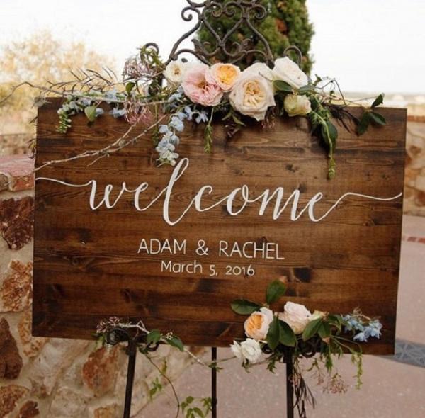 Custom Wooden Wedding Welcome Sign