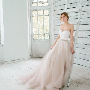 Beautiful Blush Wedding Gown with Layers of Tulle