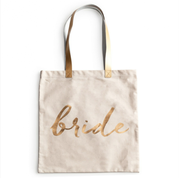 'Bride' Canvas Tote Bag With Gold Font