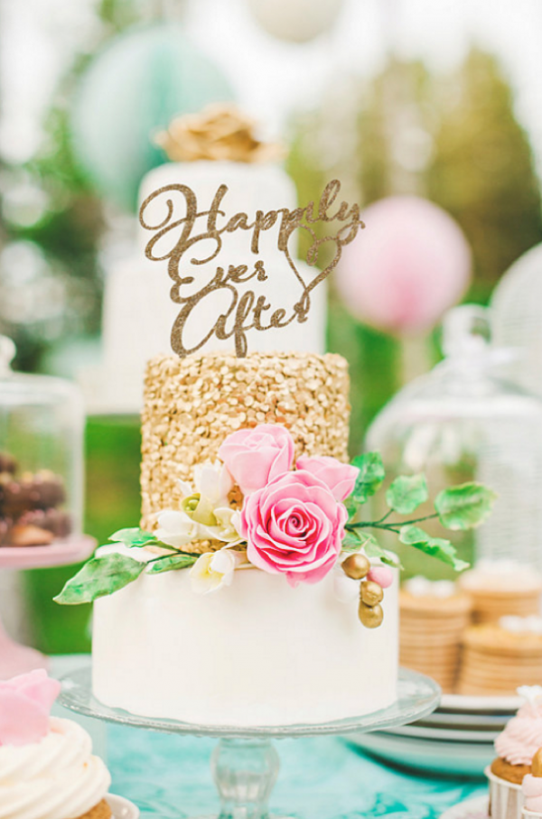 Happily Ever After cake topper in gold shimmer