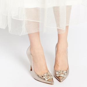 Champagne Embellished Heeled Pumps