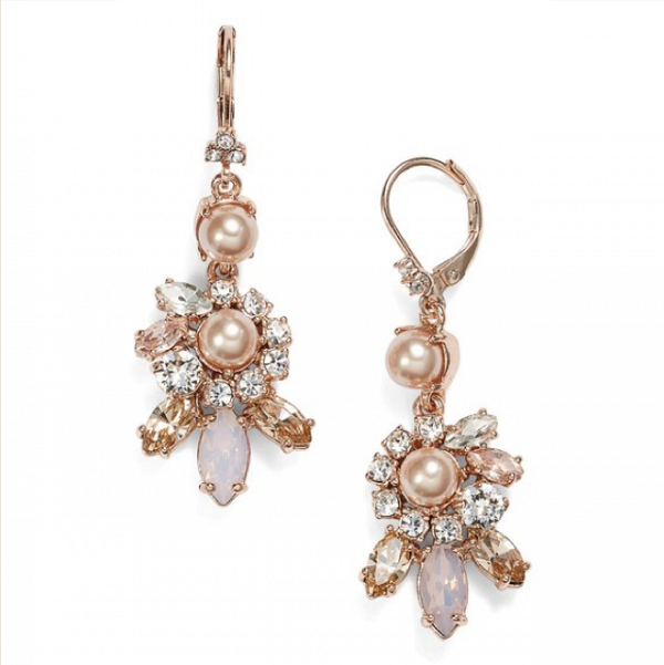 Faux Pearl & Crystal Cluster Drop Earrings