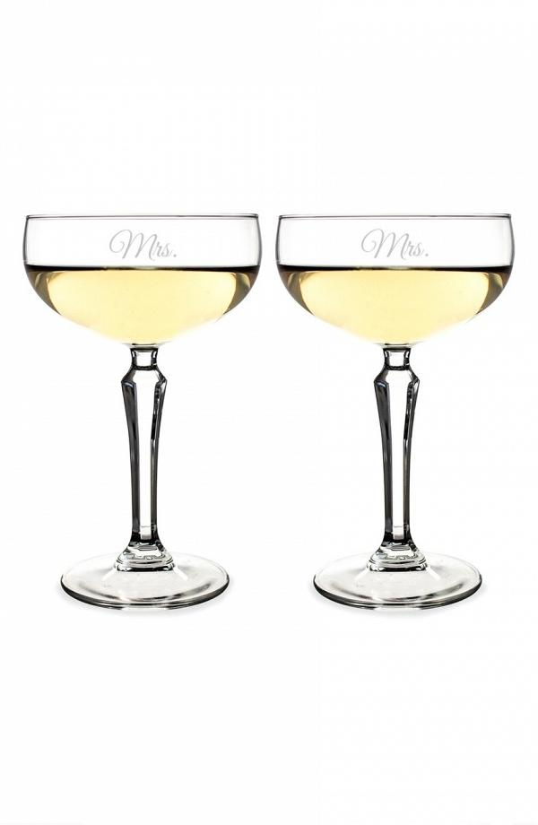 Mr. & Mrs. Champagne Toasting Glasses Set of 2