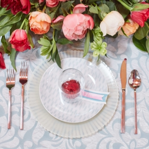 Gorgeous place settings by Juli Vaughn, photography by Whyman Studios