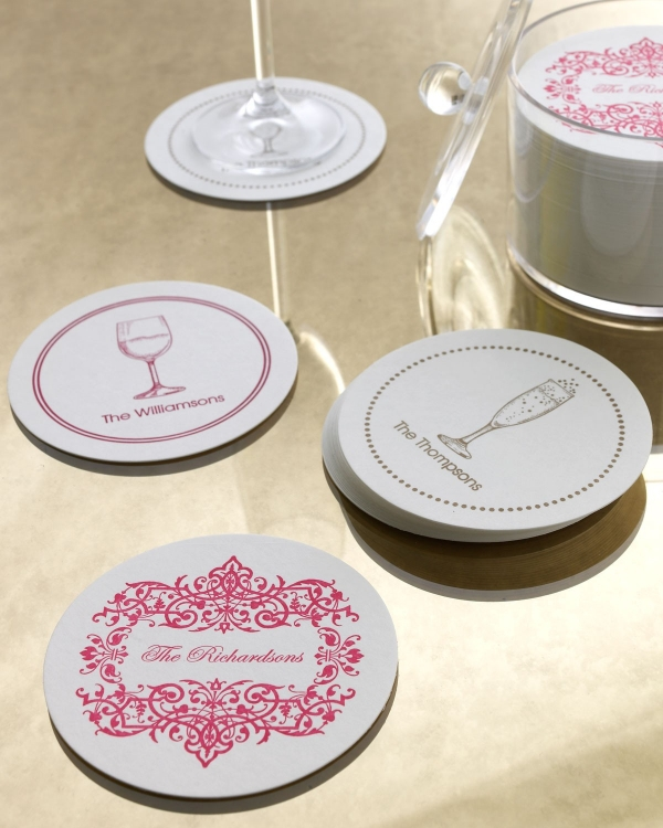 Set of 100 Personalized Coasters with Filigree