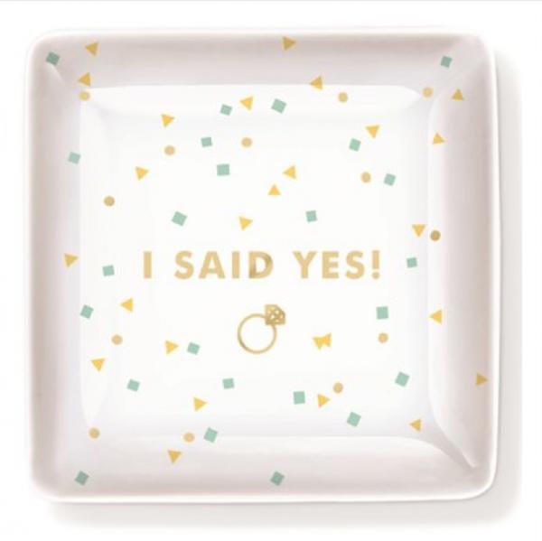 'I Said Yes!' Porcelain Trinket Tray by Fringe Studio