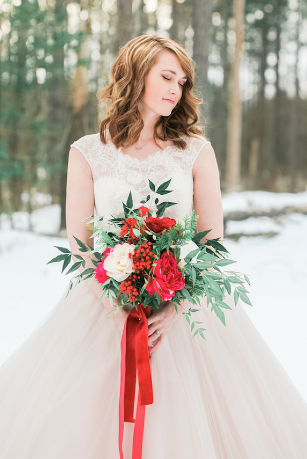 Blush and Red Velvet Bridals by Kristin Partin Photography