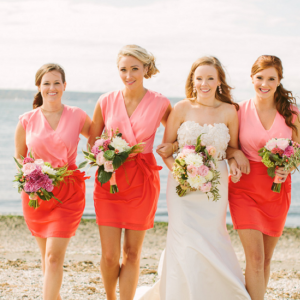 Coral two tone bridesmaid dresses