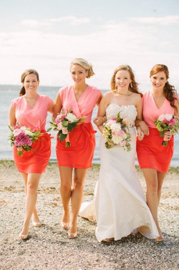 Coral two tone bridesmaid dresses