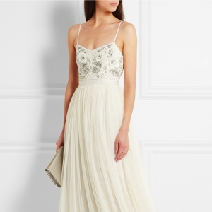 Embellished Satin Crepe and Tulle Gown
