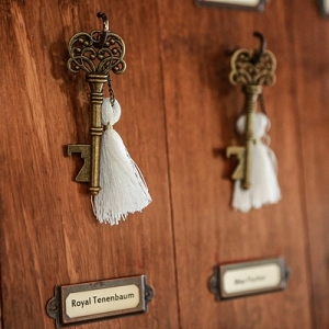 Wes Anderson Crossed Keys Society wedding favors