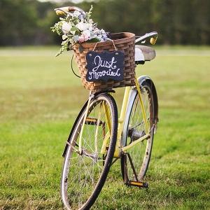 Vintage bike with flowers in basket