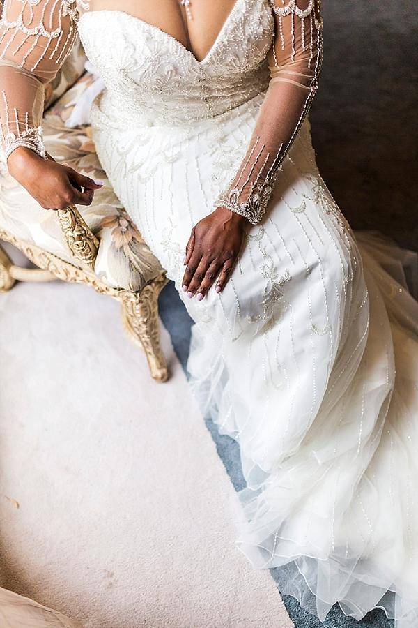 Glitzy beaded wedding dress