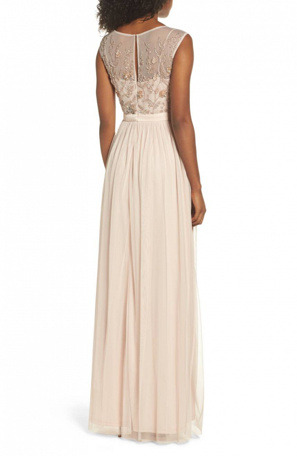 Pale Pink Embroidered Mother of the Bride Dress