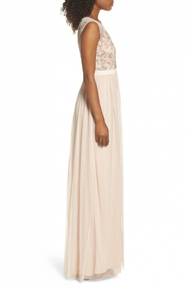 Pale Shell Embroidered Mother of the Bride Gown