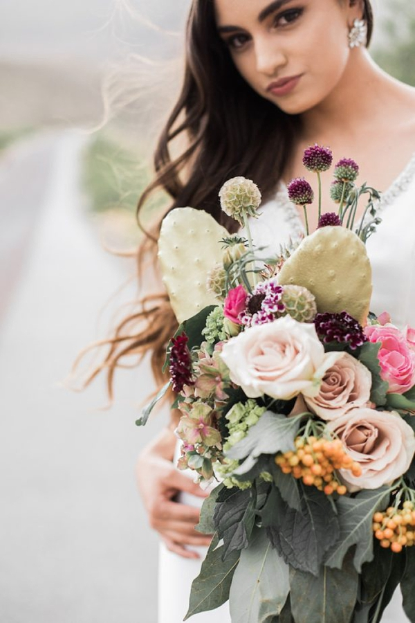 Prickly Pear Cactus Wedding Bouquet