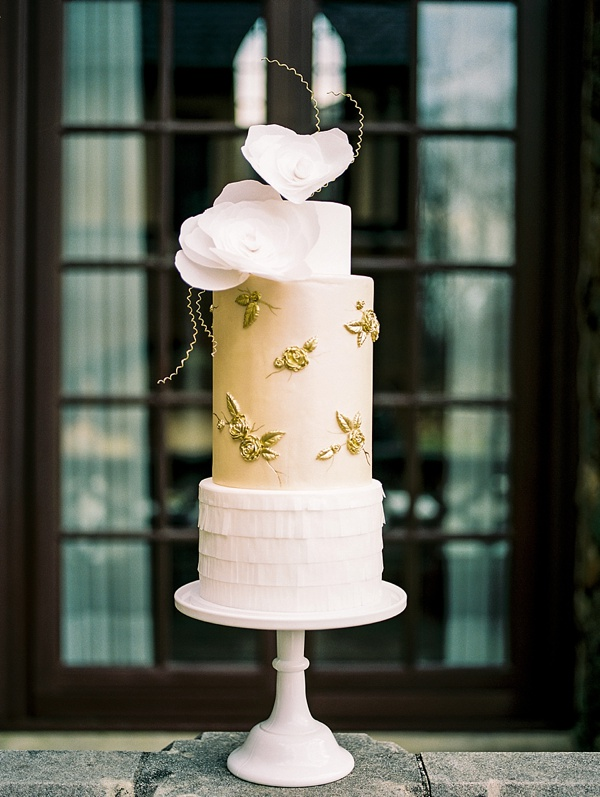 Elegant Canary Yellow Wedding Cake with Bas Relief