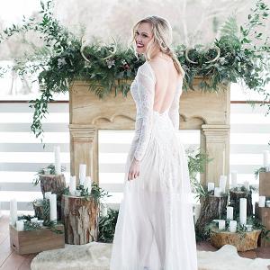 Rustic Chic Winter Wedding Ceremony Altar