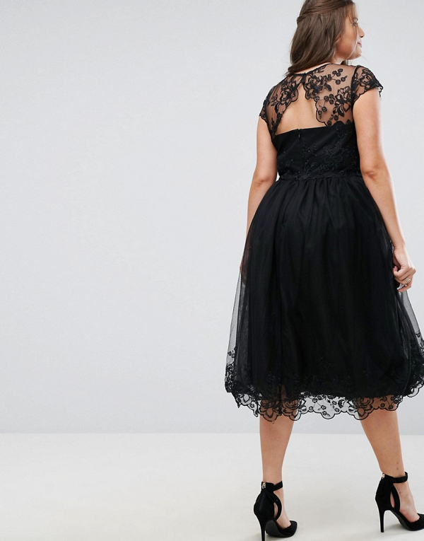 Black Lace Midi Dress with Lace Neck Back