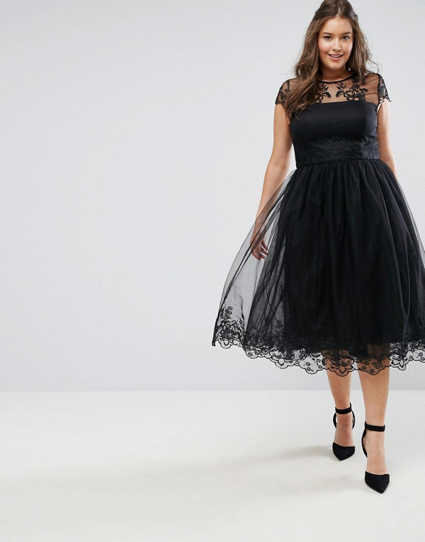 Black Lace Midi Dress with Lace Neck