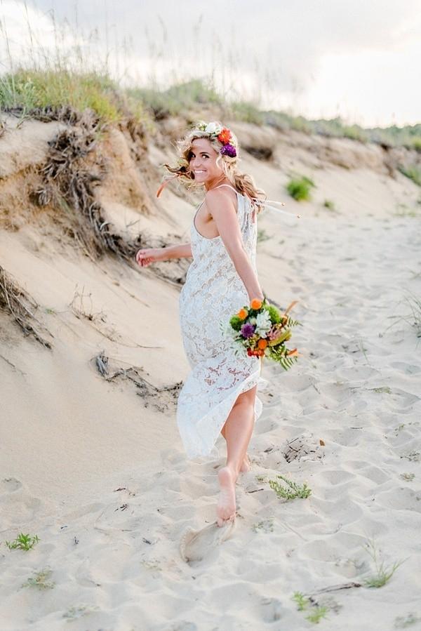 Playful beach bride