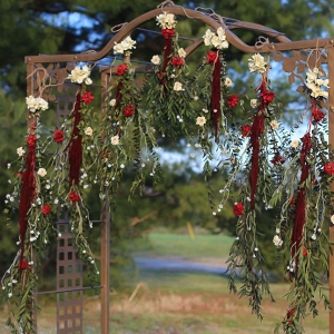 Red and White Boho Wedding Garland