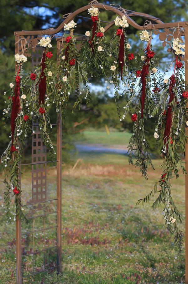 Red and White Boho Wedding Garland