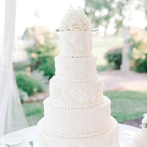 All White Wedding Cake with Bas Relief Details