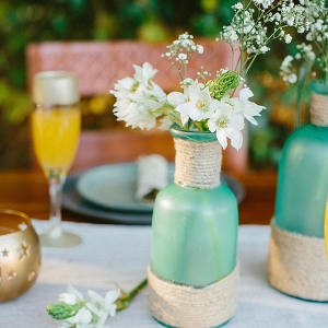 DIY glass bottles and twine