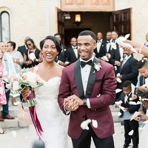Black bride and groom in stylish elegant wedding