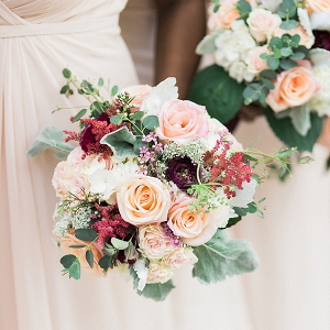 Bridesmaid bouquet of burgundy red and blush