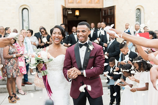 Black bride and groom in stylish elegant wedding