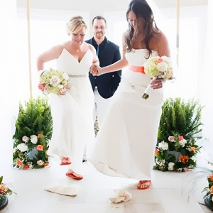 Beach wedding with two brides
