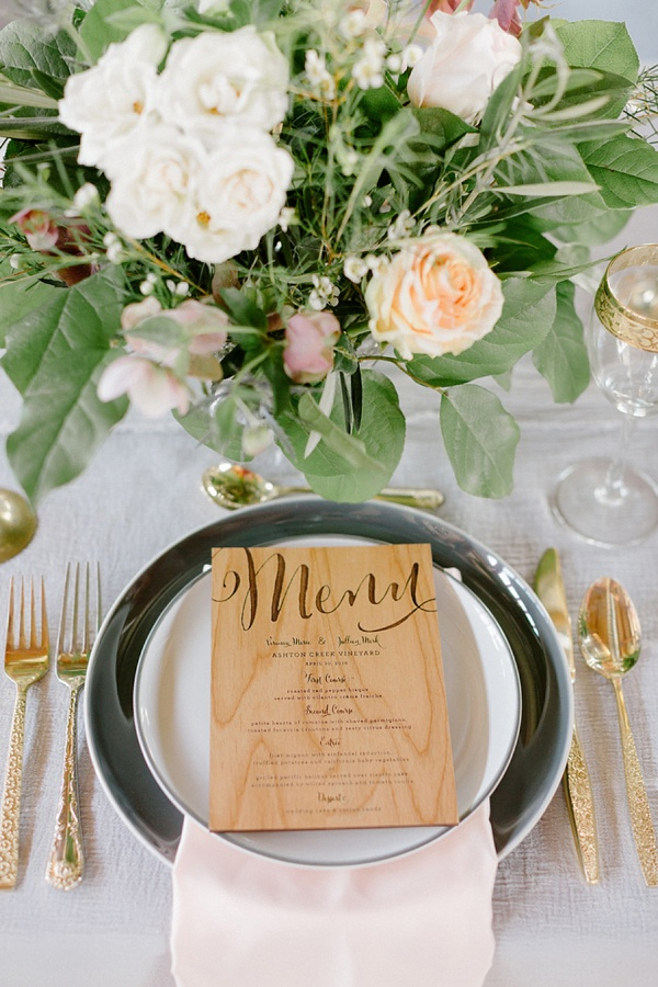 Wooden engraved menu