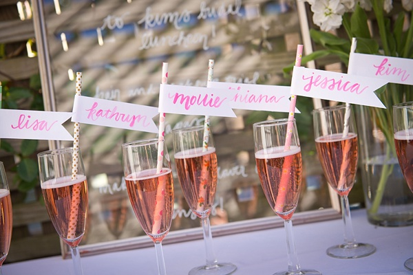 Fun watercolor drink flags with bridal shower names