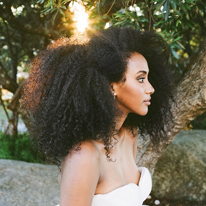 Natural hair black bride