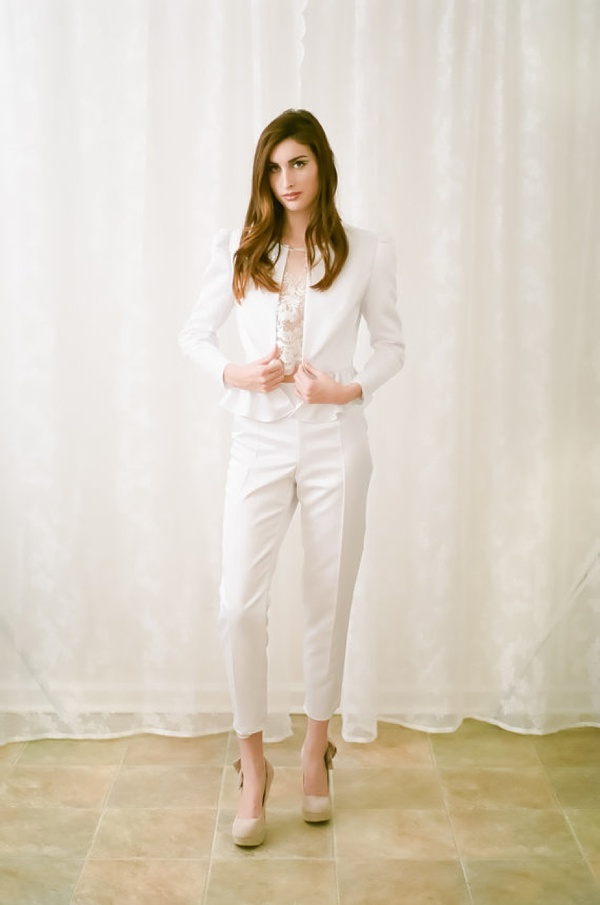 Women's White Wedding Suit