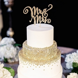 Gold confetti wedding cake