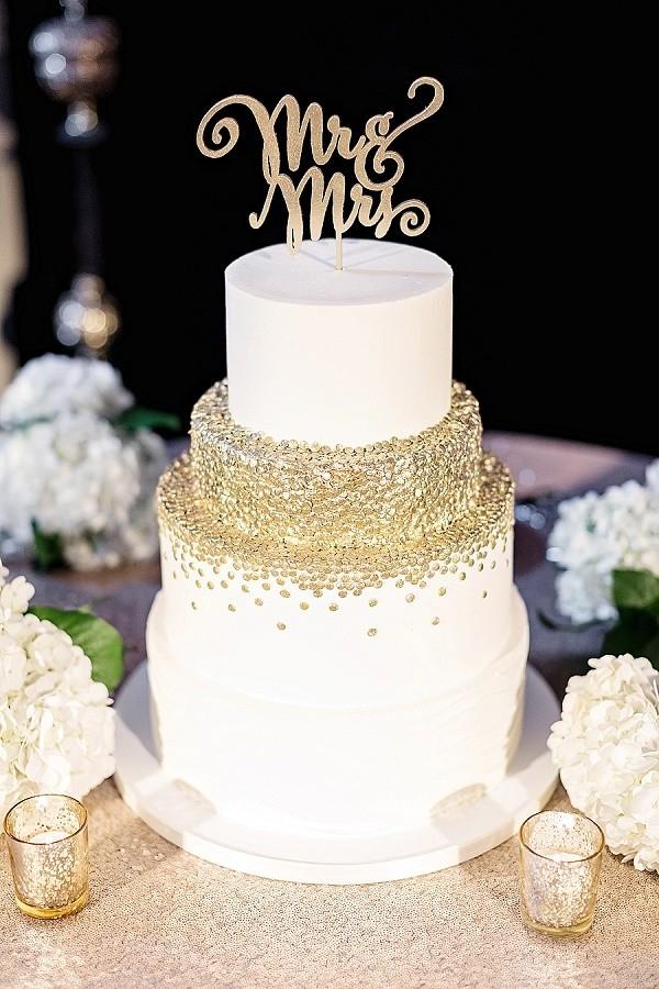 Gold confetti wedding cake